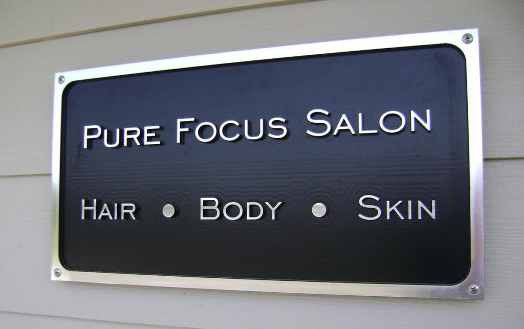 Custom Business Signs Pure Focus Salon - Madman Designs